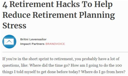 Britni Levensailor - 4 Retirement Hacks To Help Reduce Retirement Planning Stress